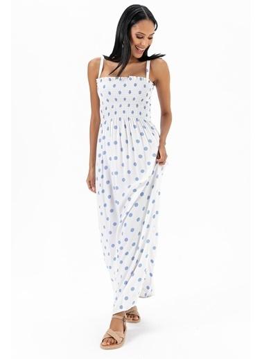 Emjey Smorg Dikişli Straplez Askılı Elbise Beyaz